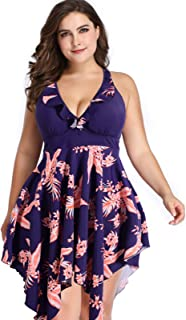 Hanna Nikole Women Plus Size Two Piece Swimsuit Floral Printed Swimdress Tankini Set