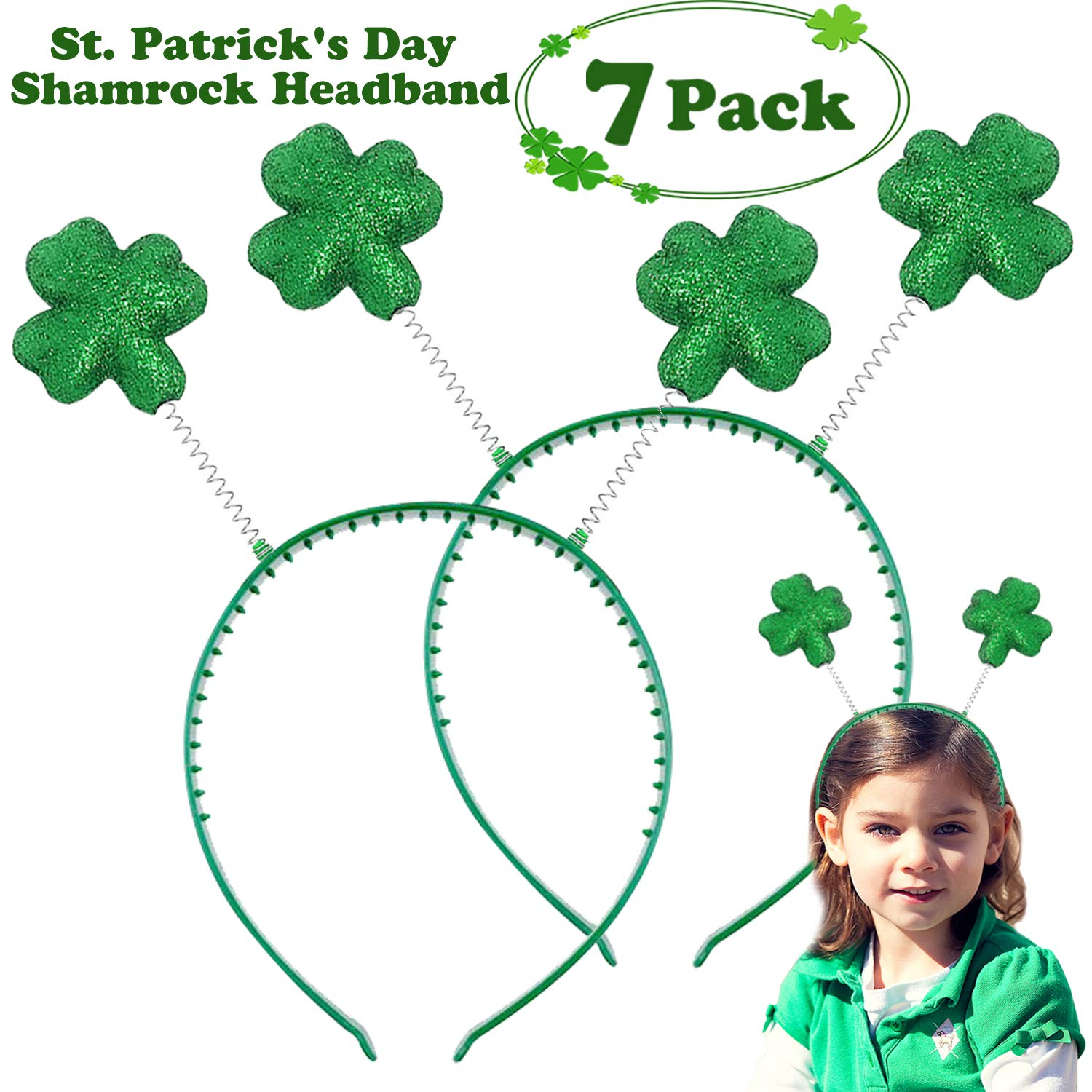 St. Patricks Day Party Favors - 7 Pack Green Shamrock Head Boppers Twinkle Leprechaun Hat Headbands Irish Party Costume Accessory for Men, Women and Kids