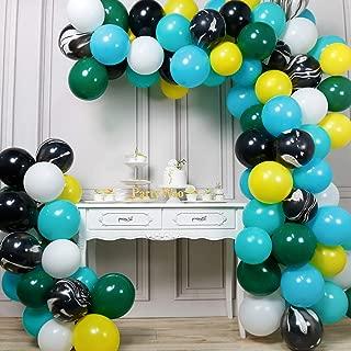PartyWoo Jungle Balloons, 105 pcs Green Balloons, Black Marble Balloons, Yellow Black White Turquoise Balloons, Safari Balloons for Jungle Party Decorations, Safari Party Decorations, Tropical Party