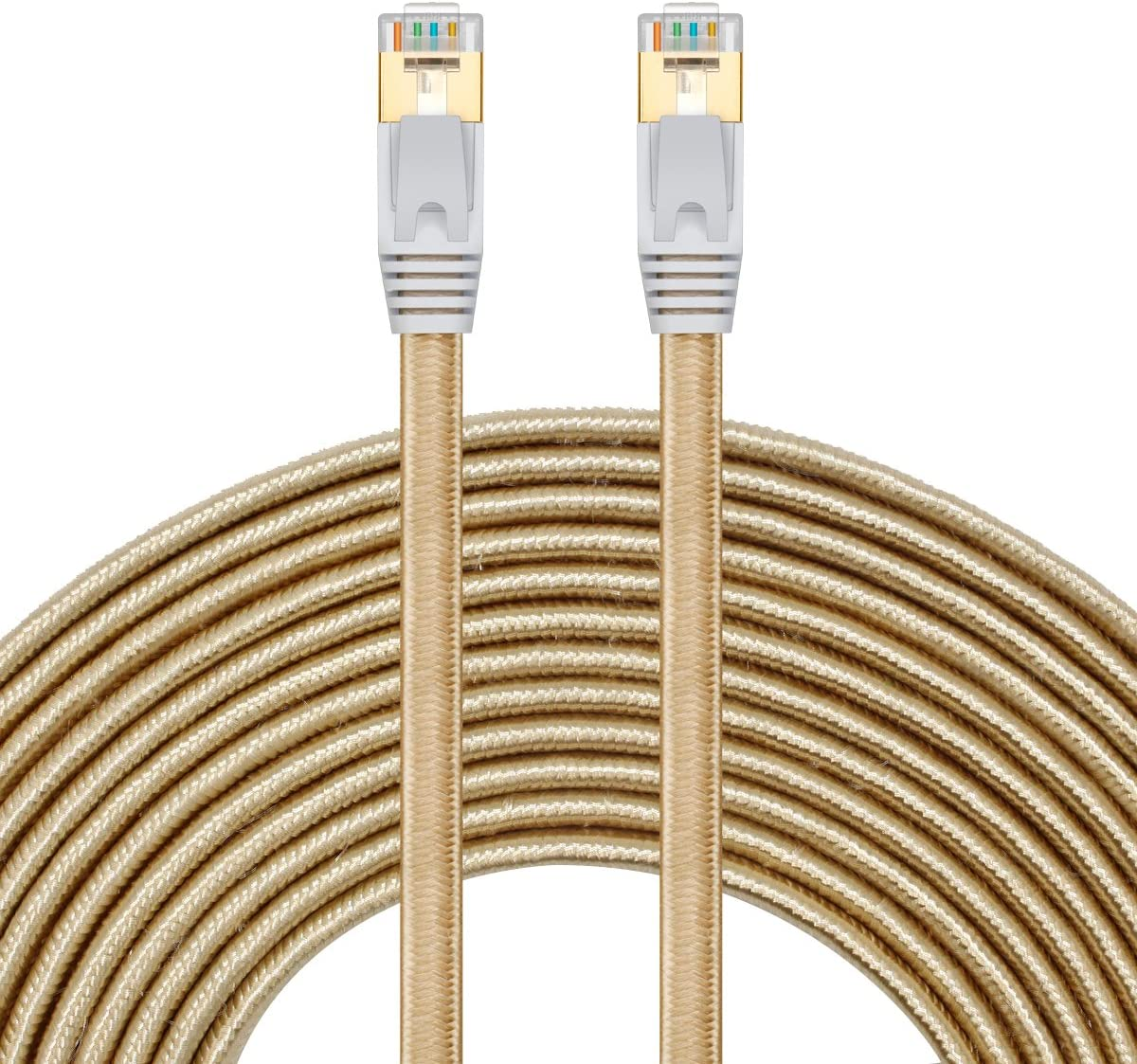 Cat 7 Ethernet Cable 6 ft - SNANSHI Nylon Braided Cat7 Flat Internet Network Lan Patch Cable SSTP Shielded Gold Plated Ethernet Network Patch Cable for Modem, Router, Printer, Computer, PS4, Xobx Gold