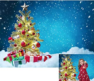 Allenjoy Winter Snowing Christmas Night Backdrop Xmas Tree Gifts Snowflake Snow Scene Pine Home Wall Table Decoration Banner Kids Family Photo Booth Props Baby Shower 7x5ft Photography Background