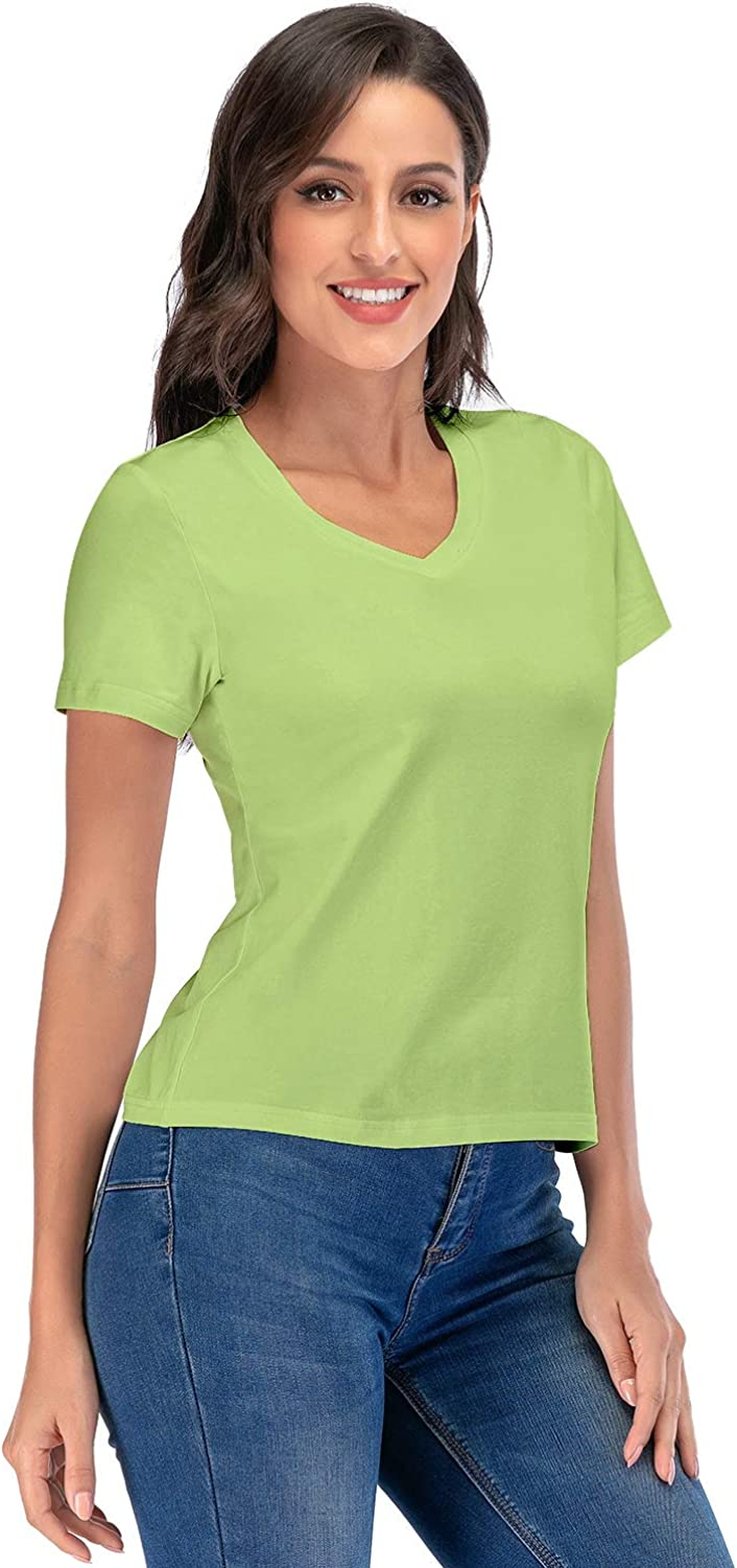 Womens Classic-Fit Short-Sleeve V-Neck T-Shirt Casual Tunic Summer Tops