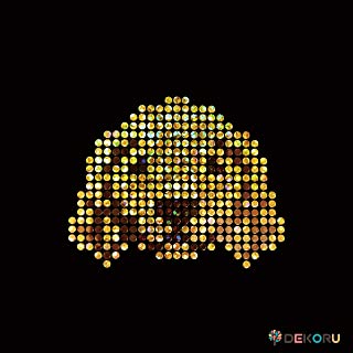 スパングル モチーフシート 犬 顔 ゴールデンレトリーバー アイロン接着 Sサイズ