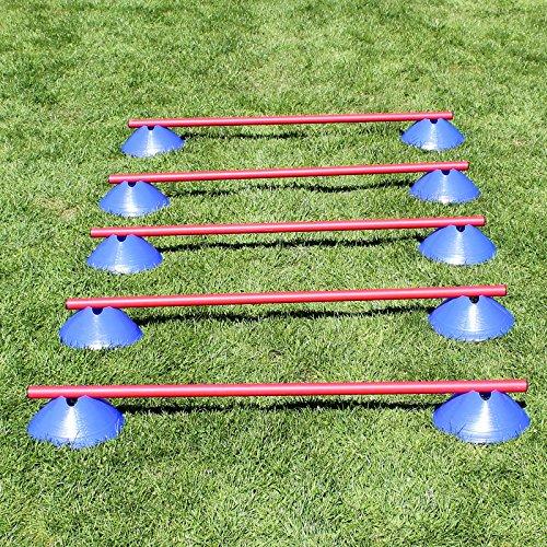 Mini-Hürden,5er Set, Blaue Markiermulden und rote Stangen 100 cm, für Agility-Training