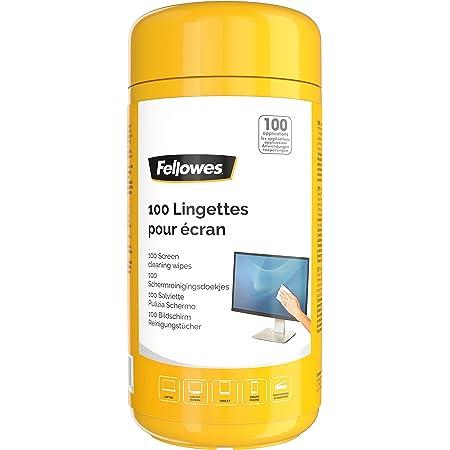 Fellowes Boite 100 Lingettes nettoyantes pour le Bureau, pour les écrans et autres surfaces, sans alcool, 9970311
