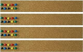 Lockways Cork Bulletin Bar Strip Set 4 Pieces, 2 x 15 Inch, Frameless Cork Board Memo Strip for Office, School, Home Holiday Decor