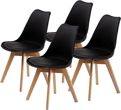 La Bella Eames PU Padded Dining Chair - Black X4 (FT-J900-BK4)