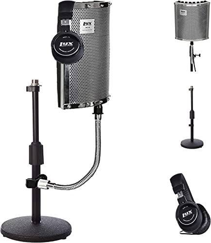 wholesale LyxPro Gooseneck Vocal Booth 40 Portable Acoustic Isolation Instrument Shield, Sound Absorbing Panel, with Adjustable Desktop Microphone Stand and Closed Back Professional sale Studio discount Headphones sale