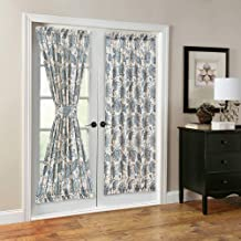 French Door Panel Curtains Paisley Scroll Printed Linen Textured French Door Curtain 72 inches Long French Door Panels for Glass Door Tieback Included 1 Panel Teal