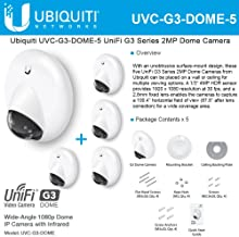 Ubiquiti UniFi UVC-G3-DOME Video Camera G3 Dome Wide-Angle 1080p HD video IP Camera with Infrared