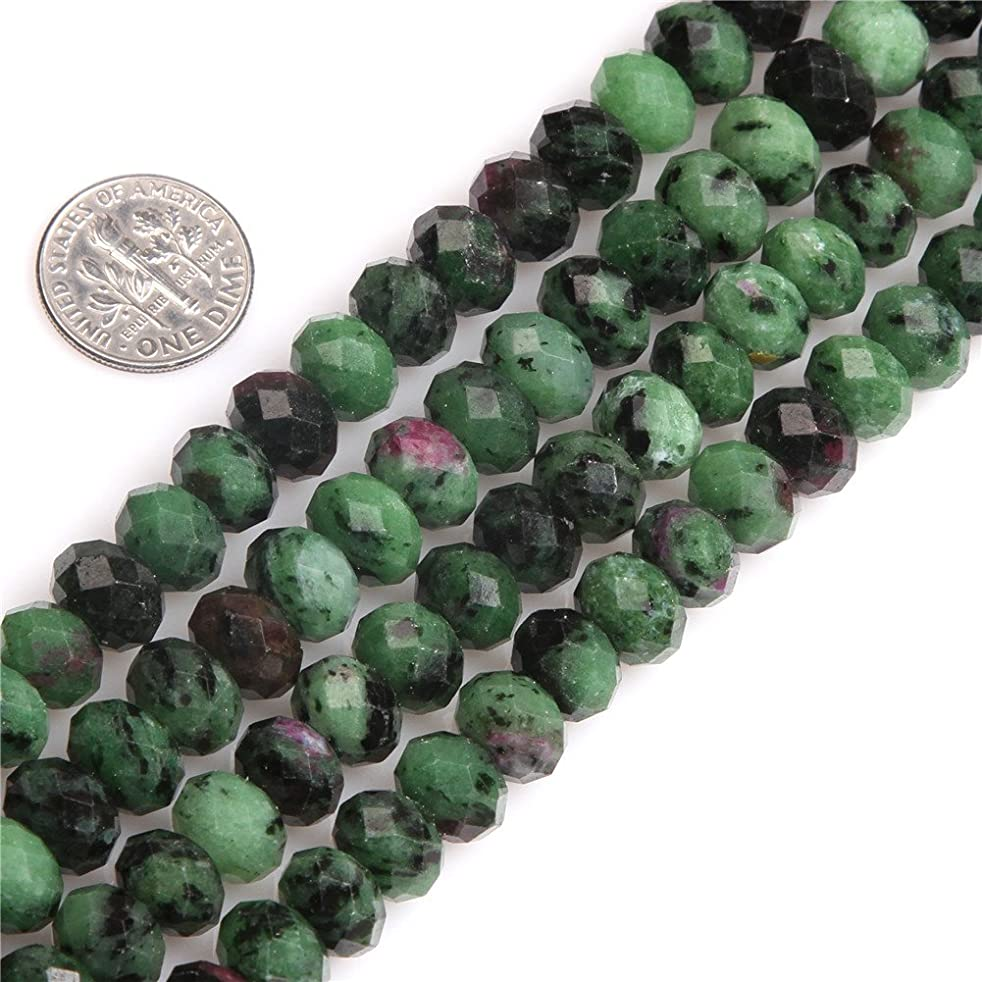 Green Epidote Beads for Jewelry Making Natural Gemstone Semi Precious AAA Grade Rondelle Spacer Faceted 7x10mm 15