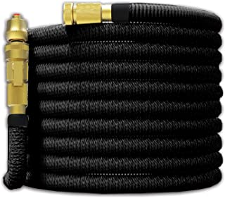 """Tiumso 50ft Garden Hose - All New Expandable Water Hose with Dual Latex Core 3/4"""" Solid Brass Fittings Expanding Extra Strength Fabric Flexible Hose with Jet Nozzle and Washers"""