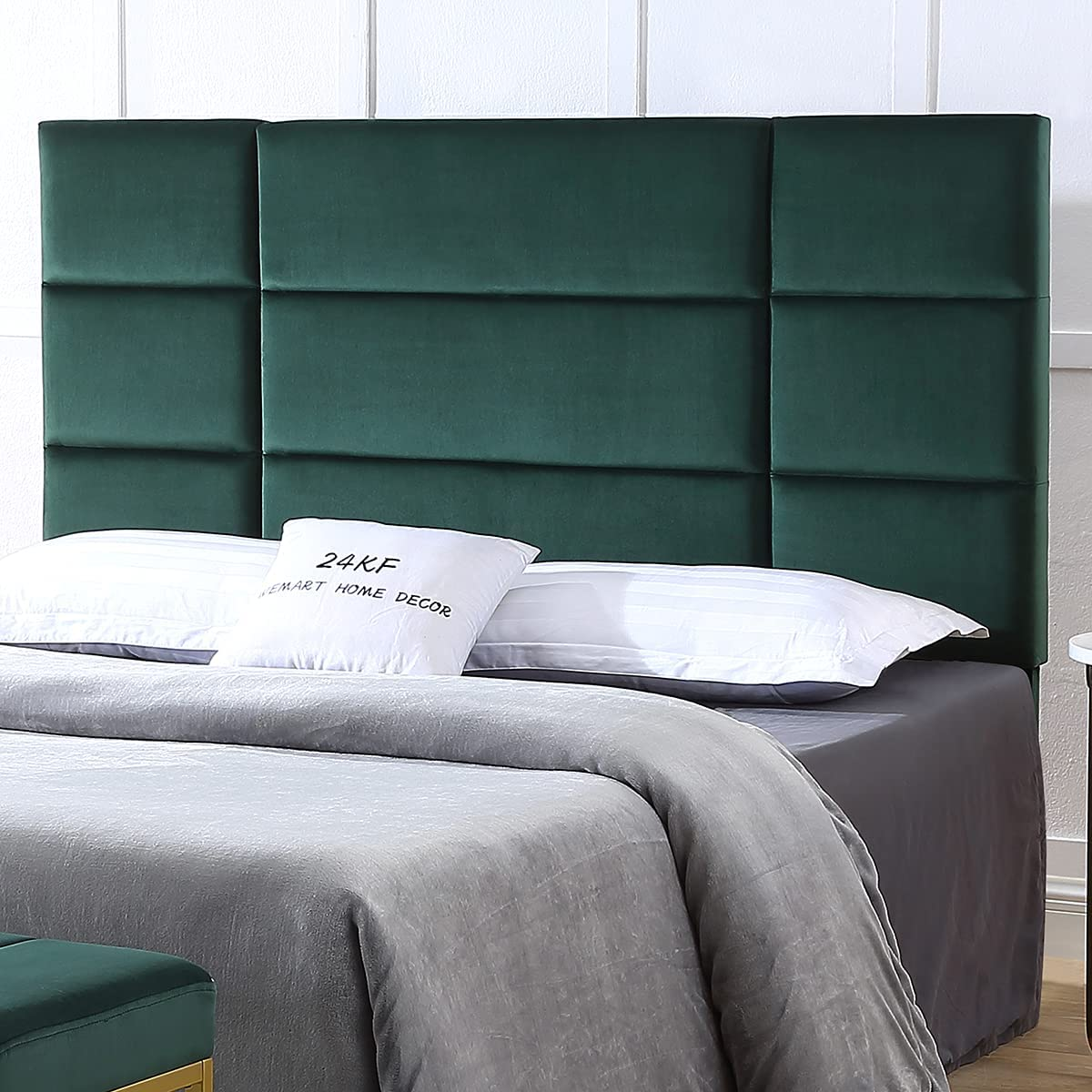 24KF Mid-Century Upholstered Tufted Comfortable King Headboard with Rectangle Pattern King/California King-Jade