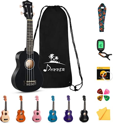 Donner DUS-10D Soprano Ukulele Ukelele Beginner Kit for Kids Students 21 Inch Rainbow with Bag, Strap,Strings, Tuner,...