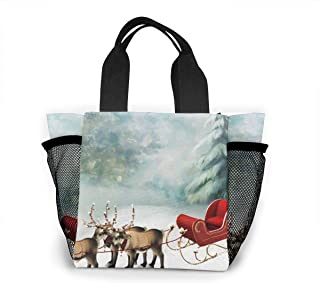 Lunch Bag Winter-christmas-cold-santa-snow-reindeer-snowing-firefox-persona-sleigh-nature-desktop-wallpaper For Men Women, Meal Lunch Tote Handbag Food Boxes, Durable Pouch For Outdoor