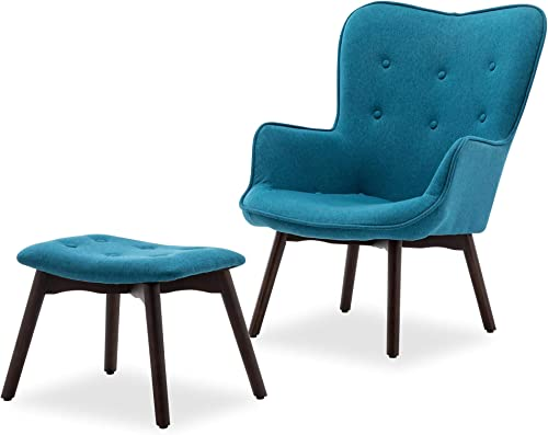 popular BELLEZE Murray Mid Century Linen outlet online sale Tufted Accent lowest Lounge Chair with Ottoman Solid Wood Leg, Blue sale