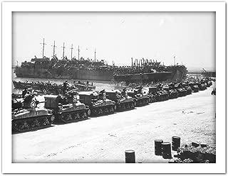 War WWII USA LST Tanks Invasion Sicily 1943 Photo Artwork Framed Wall Art Print 18X24 Inch