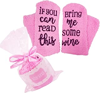 IF YOU CAN READ THIS Fun Wine Socks - HSELL Womens Fuzzy Crew Party Socks Cupcake Gift Package Anti-Slip Rubber Letters Slipper Socks