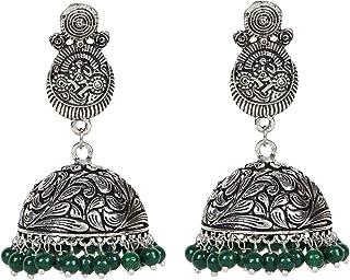 Sansar India Oxidized Stud Jhumka Jhumki Earrings for Girls and Women 1529A