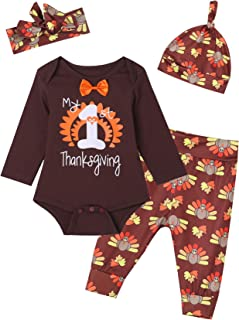Auggle Baby Boys Girls 4PCS My 1st Thanksgiving Turkey Outfit Set Tops Pants Hat and Headband