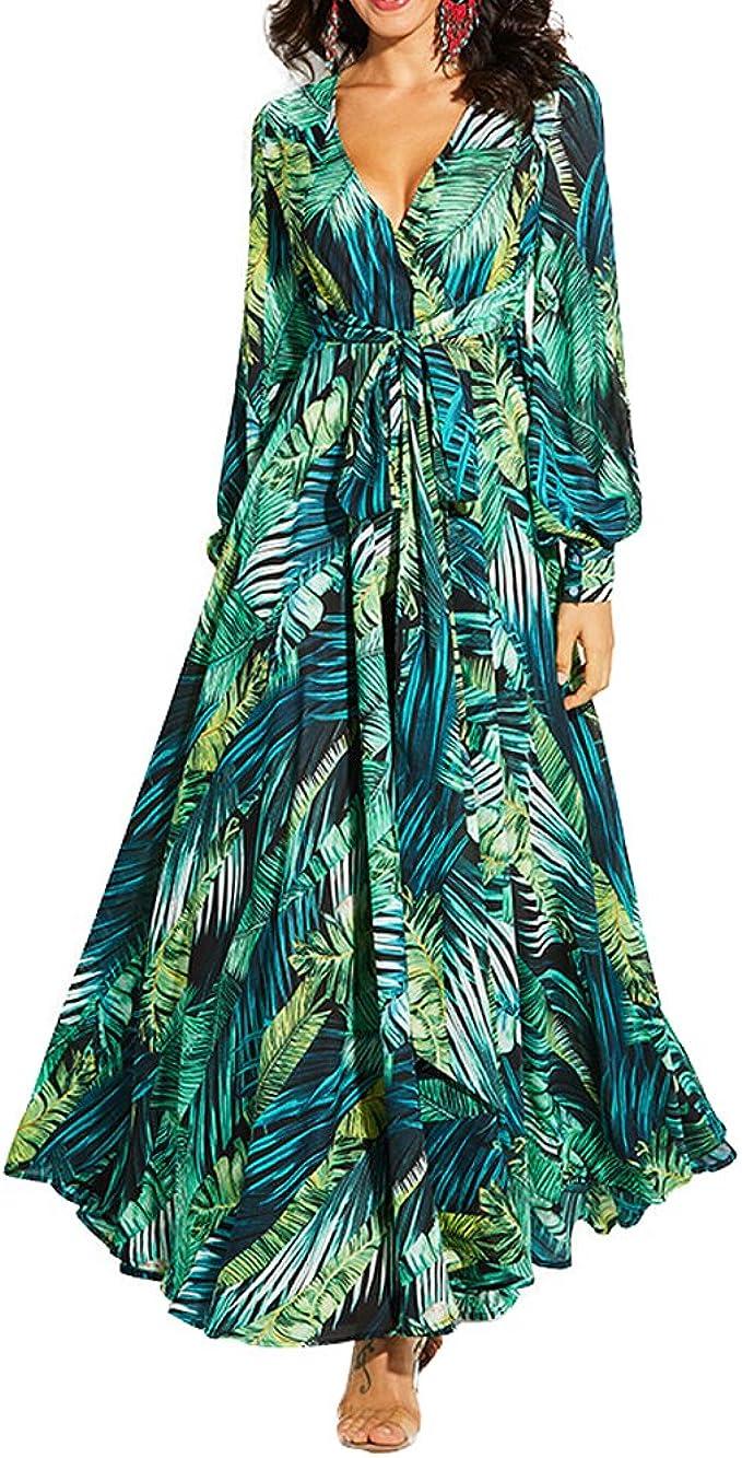 Mandeku Damen Langarmkleid Casual V Ausschnitt Tropical Print Vintage Maxi Kleider Grun Xx Large Amazon De Bekleidung