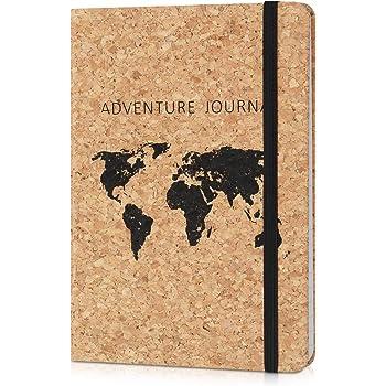 Navaris Carnet de notes - Carnet de voyage avec couverture en liège et fermeture élastique - Cahier 100 pages avec lignes et compartiment papier