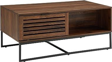 Walker Edison Furniture Company Modern Slatted Wood Rectangle Coffee Table with Drawer Living Room Ottoman Storage Shelf, 42 Inch, Dark Walnut