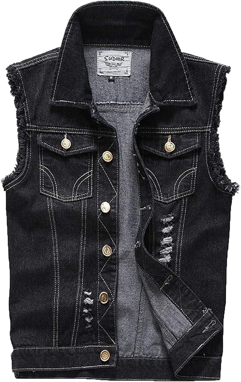XueYin Women's Casual Wear Denim Button Up Jean Jacket And Vest