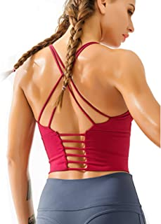 Redqenting Women's Sports Bras Medium Support Yoga Bras Padded Workout Running Bras Seamless Bralette Red