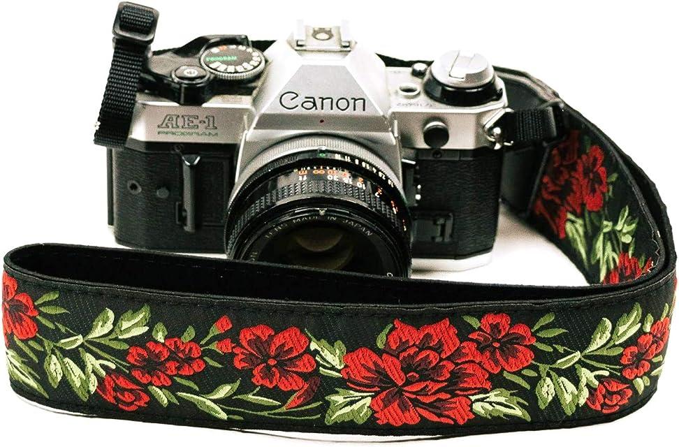 Correa de cámara con rosas para cámaras DSLR – Elegante correa universal de algodón para réflex – Correa de hombro y cuello para Canon Nikon Pentax Sony Fujifilm y cámara digital