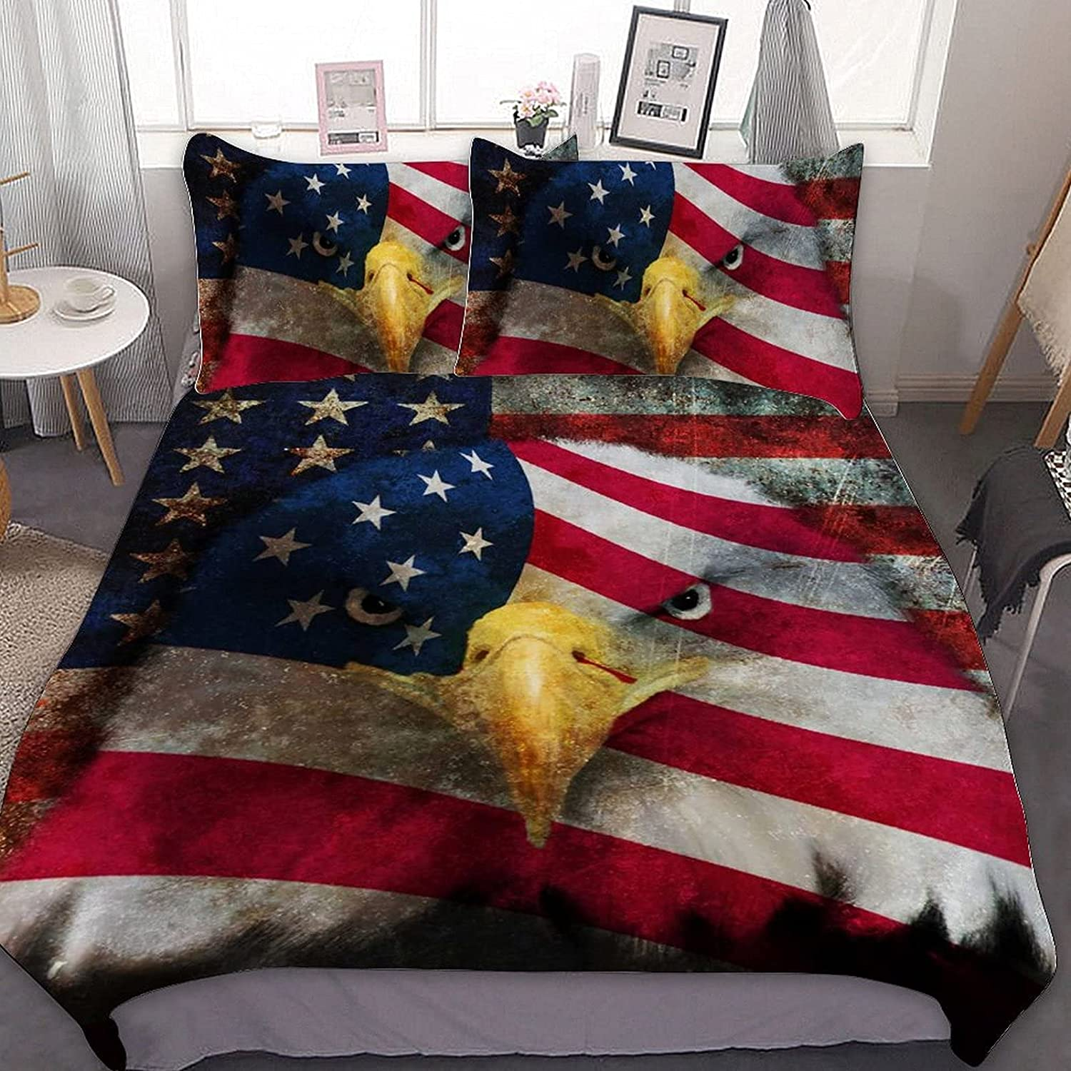 PNNUO Vintage Cheap Max 85% OFF American Flag Eagle Queen Bed S Twin King Full Set