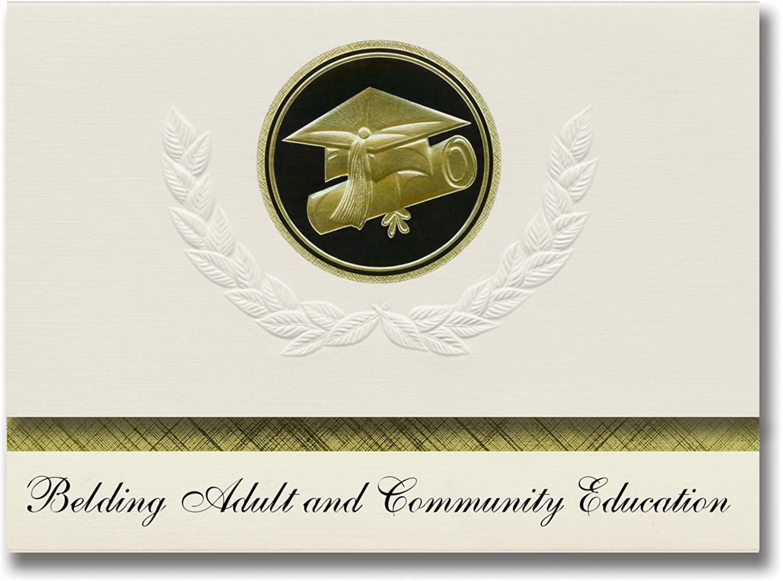 Signature Announcements Belding Adult and Community Education (Belding, MI) Graduation Announcements Presidential Elite Pack 25 Cap & Diplom-Siegel Schwarz & Gold. B079PMRHL8    | Deutschland Shop