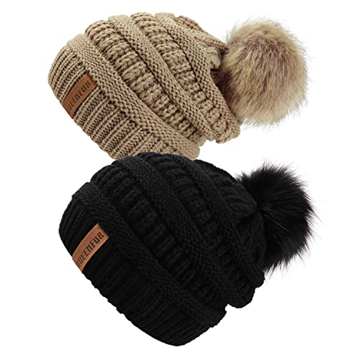 2ee70b063ccc6 Queenfur Knit Slouchy Beanie for Women Thick Baggy Hat Faux Fur Pompom  Winter Hat