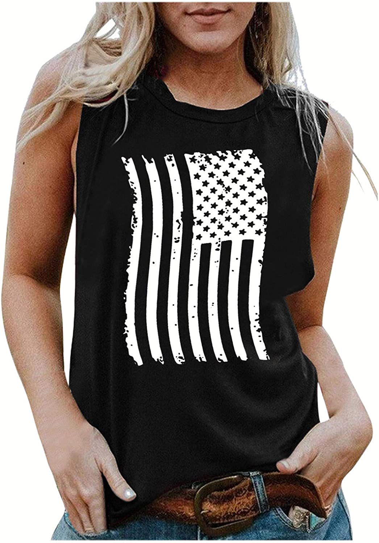 POLLYANNA KEONG Sleeveless Tops for Women Plus Size,Women's American Flag Camo Tank Tops Bowknot Stripes T Shirts
