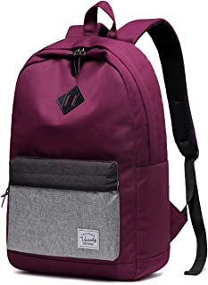 School Backpack for Men and Women,VASCHY Water-Resistant Durable Lightweight Casual Daypack for Work College Bookbag with Water Bottle Pockets Burgundy