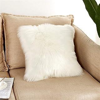 YK.Hapyshop Funda de cojín de piel de oveja de doble cara decorativa de pelo sintético largo, 40 x 40 cm
