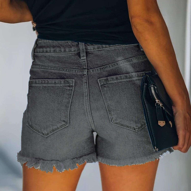 Denim Shorts for Women Ripped Stretchy Frayed Raw Hem Distressed Jean Shorts Hot Short Pants