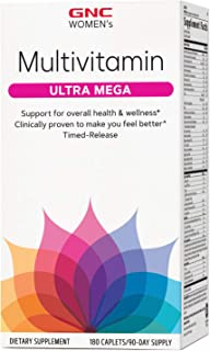 GNC Women's Ultra Mega Multivitamin, 180 Caplets, Supports Overall Health and Wellness in Women
