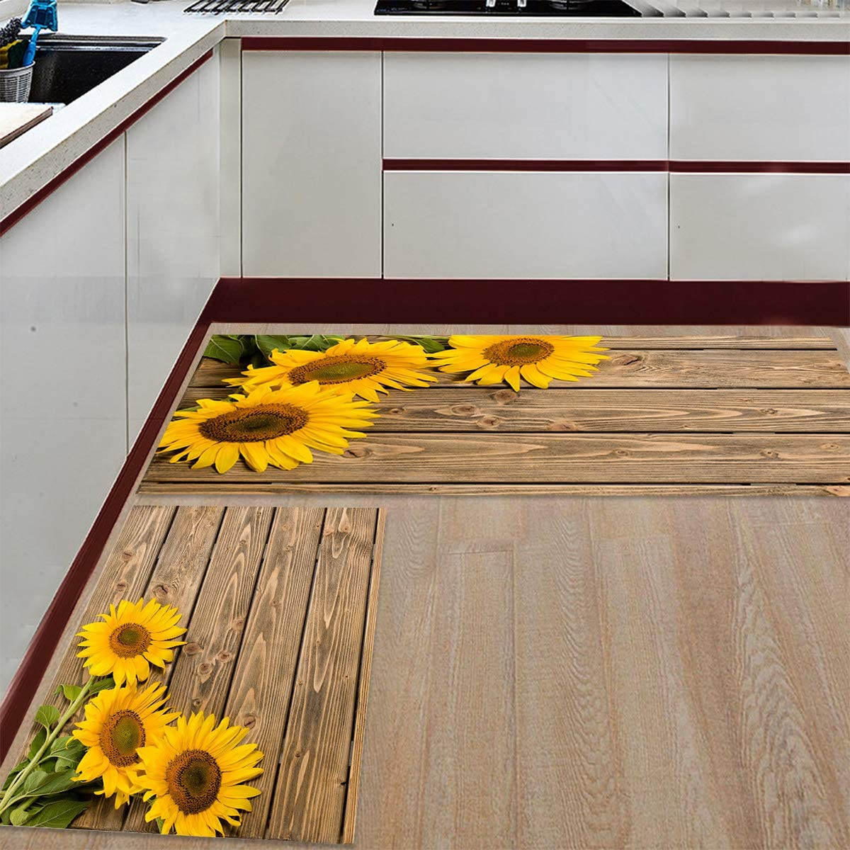 Fantasy Staring Kitchen Rugs Sets 9 Piece Floor Mats 9 Sunflower on The  Wooden Table Doormat Non Slip Rubber Backing Area Rugs Washable Carpet  Inside ...