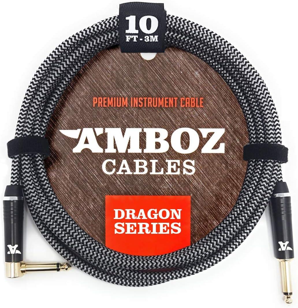 Cable para Instrumentos White Dragon blanco - Sin ruido para Guitarra y Bajo Eléctrico - 4.5 metros de pulgada recto-angular 1/4 jack macho macho