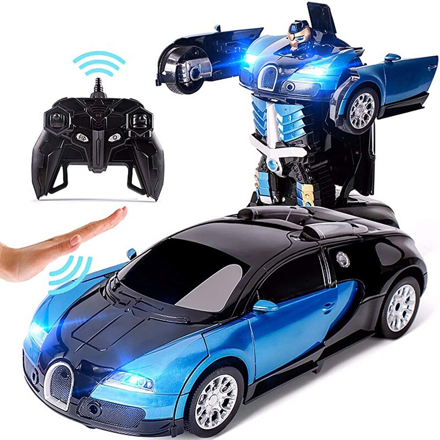 Kikioo AntiDrop 2.4Ghz Buugattii Transformer Remote Control Car Talking Auto Bot RC Drifting Robot Sound FX Lights One Touch Transform Rechargeable Radio Controlled Holiday Birthday Gifts bluee