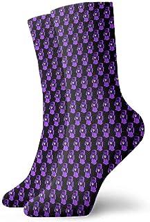 tyui7, Calcetines de compresión antideslizantes con diseño de rombos morados Calcetines deportivos de 30 cm acogedores para hombres, mujeres y niños