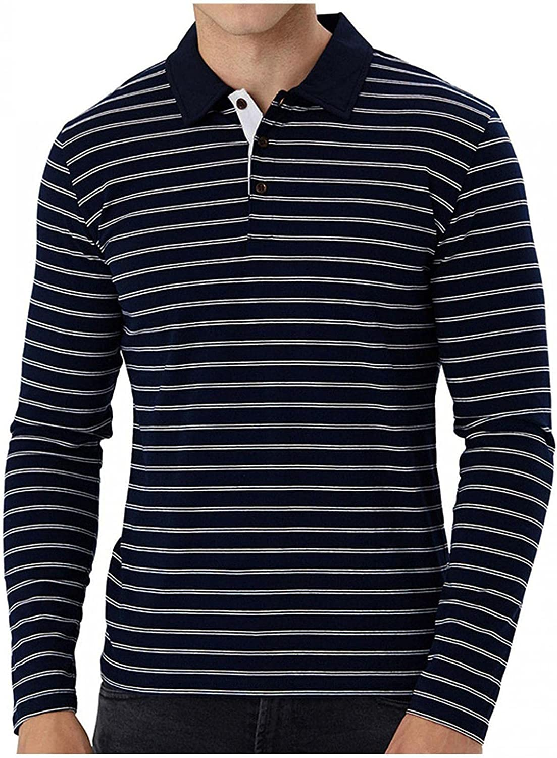 Men Polo Shirts Long Sleeve Lapel Button Top Soft Comfy Cotton Blouse Classic Striped Pullover T-Shirt Casual Baggy Tee