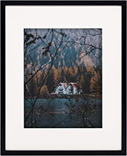 Frametory, 16x20 Black Frame - Ivory Mat for 11x14 Photo - Smooth Wood Grain Finish - Sawtooth Hangers, Real Glass - Landscape/Portrait, Wall Display (16x20, Black)