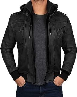 Blingsoul Mens Biker Leather Jacket with Hood - Genuine Leather Bomber Jacket for Men