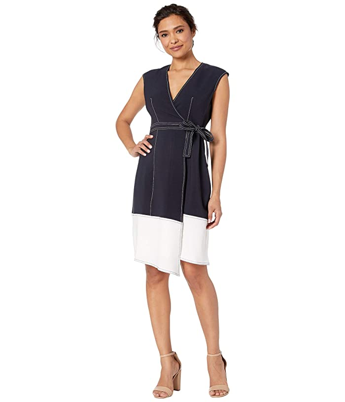 Maggy London  Novelty Crepe Cap Sleeve Fit and Flare (Dark Navy/Soft White) Womens Dress
