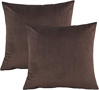 Kingria Velvet Throw Pillow Cover Soft Decorative Cushion Cover for Sofa Couch Bed and Car Set of 2,18x18inch (Coffee)