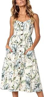 Women's Sundress Summer Floral Bohemian Spaghetti Strap Button Down Swing Midi Dress with Pockets
