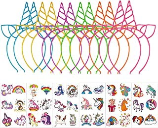 Unicorn Party Supplies, 12pcs Cat Ear Headbands, 36pcs Temporary Tattoos for Girls Cosplay Birthday Party Favors