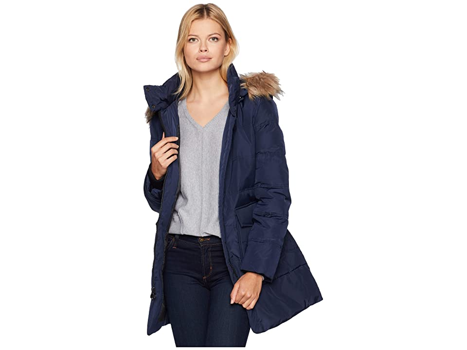 Marc New York by Andrew Marc Astoria Down Filled Anorak with Faux Fur Trim Hood Patch Pockets (Navy) Women